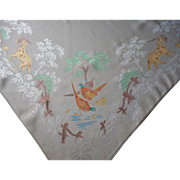 Vintage Tablecloth Hunting Dogs Birds Hand Colored Damask