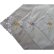 Set 3 Vintage Hankies Lace Petit Point Hand Embroidery As Is TLC