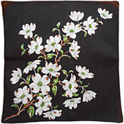 Vintage Hankie Printed Linen Black White Dogwood Flowers