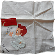Vintage 1930s Walt Disney Hankie Original Label Wynken Blynken Nod 1938 Cartoon