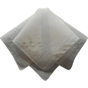 Fine Vintage Hankie Linen Dainty Hand Embroidery Unused
