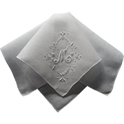 Monogram M Vintage Madeira Hankie Linen Hand Embroidery