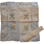 Vintage 1940s Madeira Unused Hankie Hand Embroidery Owner's Hand Written Note