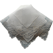 Vintage Hankie Linen Lace Reembroidered Net