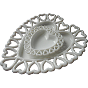 Vintage Heart Milk Glass Dish Hearts Dshes Westmoreland Open Lace