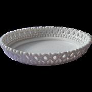 Antique Milk Glass Dish Open Lace Shallow Bowl