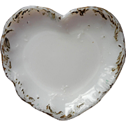 Antique Milk Glass Heart Shaped Pin Dish Vanity