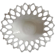 Vintage Milk Glass Lace Rim Big Centerpiece Bowl Westmoreland Open Laced