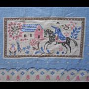Vintage 1950s Tablecloth Colonial Print Pink Blue Natural Linen Cotton Blend
