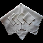 Vintage 1920s Tea Tablecloth Napkins Set Linen Handsome Simple