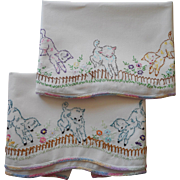 Vintage Pillowcases Hand Embroidered Lambs Counting Sheep