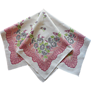 Vintage Printed Tablecloth Topper Pink Gray Green Morning Glories