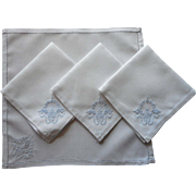 Vintage Tea Napkins Madeira Ice Pale Hand Embroidery White Unused