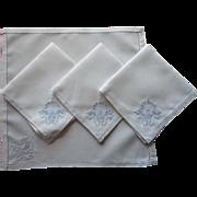 Vintage Tea Napkins Madeira Ice Pale Hand Embroidery White Unused