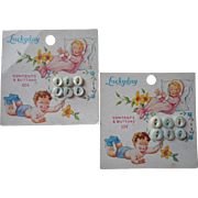 Vintage Baby Buttons Original Cards Mother Of Pearl Pretty Graphic