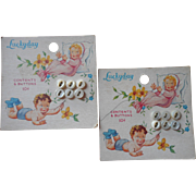 Vintage Baby Buttons Original Card Mother Of Pearl Pretty Graphic