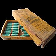Aqua Antique Sewing Thread Wooden Mini Spools Original Store Box