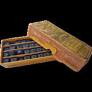 Antique Sewing Thread Reels In Original Store Box Black Cotton