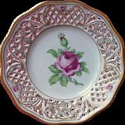 Schumann Pink Rose Reticulated Pierced Plate Vintage Prewar