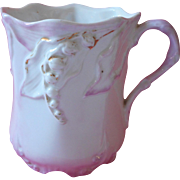 Antique China Mug Cup Pink White Lily Of The Valley Leaves Molding