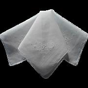 Vintage Madeira Hankie White On White Bows Embroidery Cotton