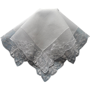 Vintage Hankie Lace Reembroidered Net
