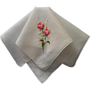 Vintage Hankie Pink Roses Hand Embroidery