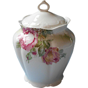 Antique Biscuit Cracker Jar Pink Roses China Smaller Size