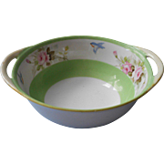 Nippon Bowl Bluebird Pink Roses Antique 1910s Green White China Hand Painted