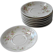 Haviland Limoges 8 Saucers Antique French China Pink White Green