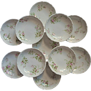 Haviland Limoges 11 Butter Pats Antique French China Pink White Green