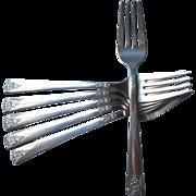 Spring Charm 1950 Salad Forks Dessert Vintage Silver Plated