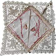 Vintage Hankies French Love Cherubs Unused Labels Valentine Hankie Embroidery Swiss