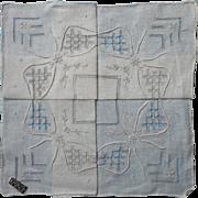 Vintage Hankie Unused Fine Drawnwork Embroidery Label In Paper Lace Folder