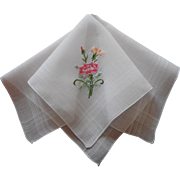 Petit Point Hand Embroidery Hankie Vintage Carnations