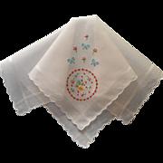 Vintage Hankie Hand Embroidery Swiss Unused
