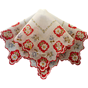 Vintage Hankie Unused Labels Printed Cotton Daisies Red White