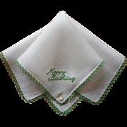 Vintage Hankie Happy Birthday Embroidery Irish Linen Original Label Unused