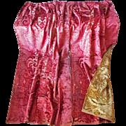 Antique Cut Velvet Curtains Portieres Victorian Reversible Red Gold