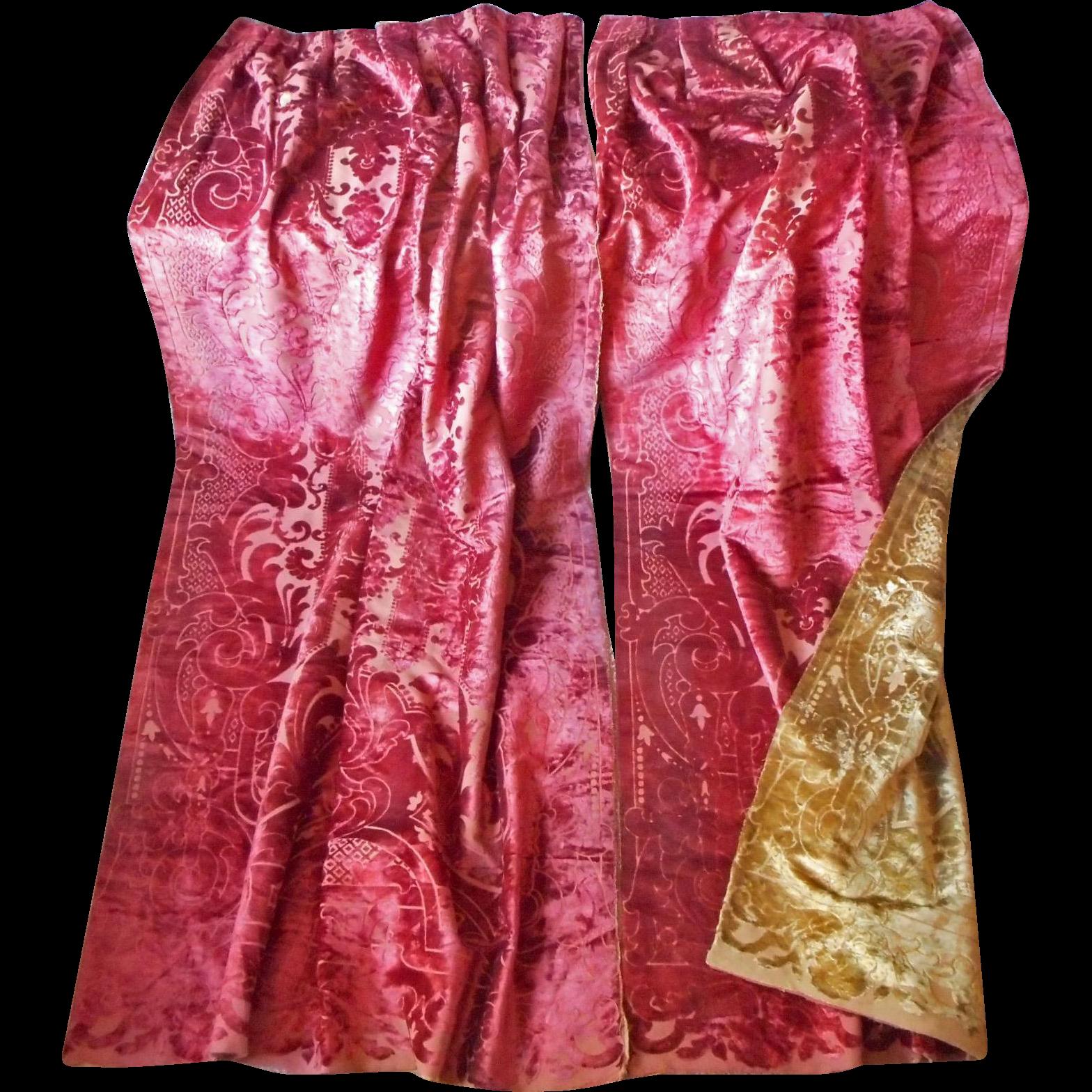 Victorian velvet curtains - Antique Cut Velvet Curtains Portieres Victorian Reversible Red Gold