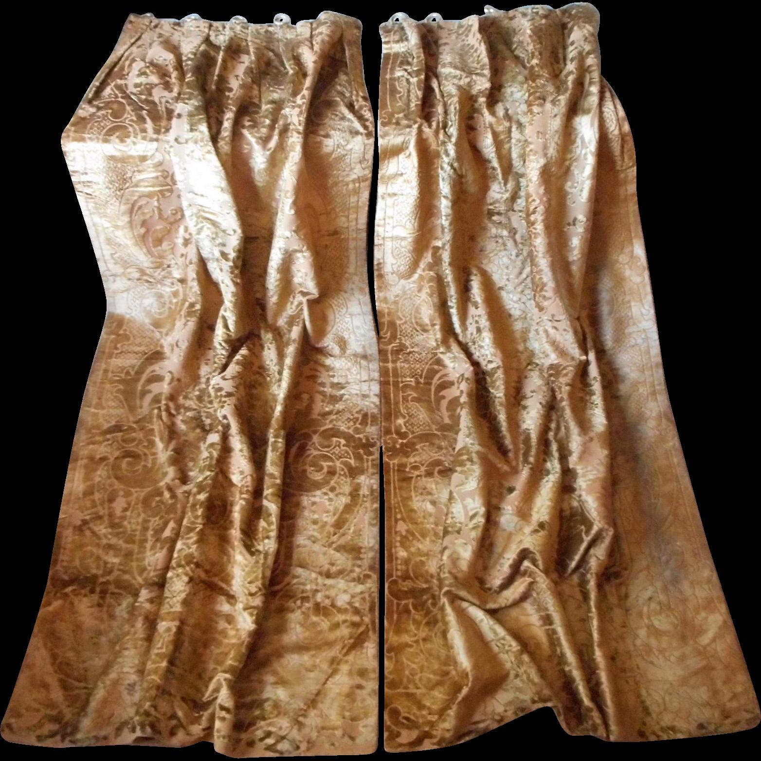 Victorian velvet curtains - Antique Cut Velvet Curtains Portieres Victorian Reversible Gold