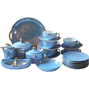 1920s Tea Set Blue Luster China Gold Hand Painted 22 Pieces
