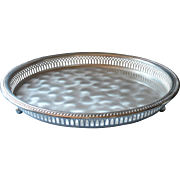Vintage Gallery Rim Serving Tray Footed WMF Ikora Silver Plated Midcentury