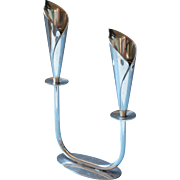 Hans Jensen Calla Lily Double Candlestick Vintage Midcentury Silver Plated
