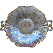 Fostroia Oakwood Oak Brocade Etched Blue Iridescent Bonbon Plate Dish Vintage