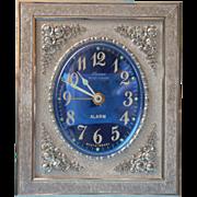 Vintage Linden Black Forest Alarm Clock Silver Roses Cobalt Blue Face Boudoir