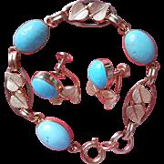 1960s Vintage Gold Filled Turquoise Cabochons Van Dell Bracelet Earrings