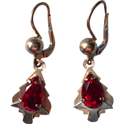 Vintage 18k Italian Earrings Pierced Red Stones French Style Lever Back Wires