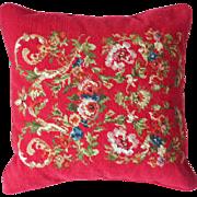 Red Needlepoint Wool Velvet Pillow Chaps Ralph Lauren