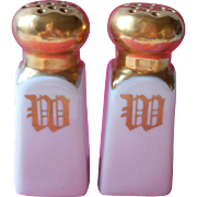 Monogram W Antique China Salt Pepper Shakers White Gold